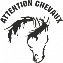 Sticker Attention Chevaux 1