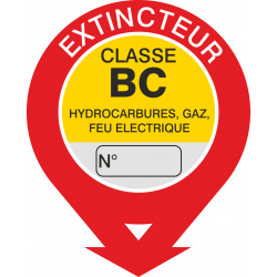 Autocollant Signalisation Extincteur Classe Bc