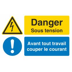 Autocollant Obligation Danger Sous Tension Couper Courant