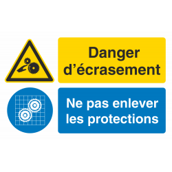 Autocollant Obligation Danger Ecrasement Garder Protection