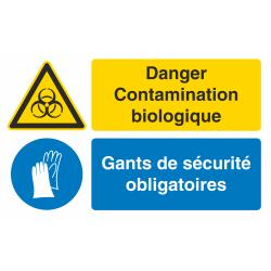 Autocollant Obligation Danger Contamination Port Gant