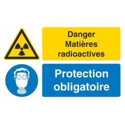 Autocollant Obligation Danger Matière Radioactive Protection