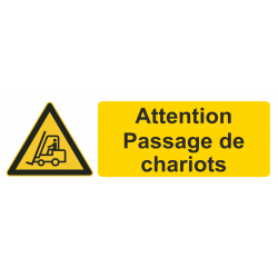 Autocollant Danger Attention Passage De Chariots