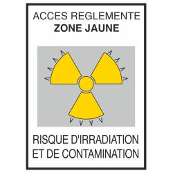 Autocollant Risque D'irradiation Et De Contamination Jaune