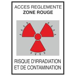 Autocollant Risque D'irradiation Et De Contamination Rouge