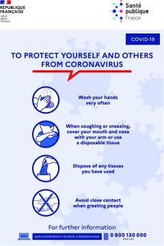 Autocollant Affiche Consignes COVID-19 Anglais