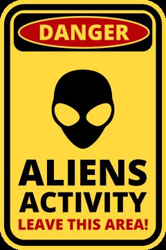 Autocollant Panneau Danger Alien