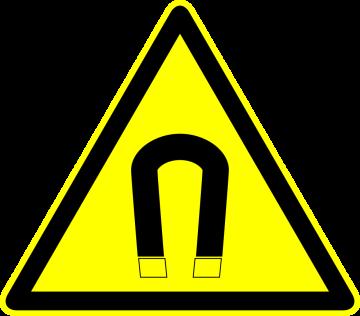 Autocollant Panneau Danger Champ Magnetique