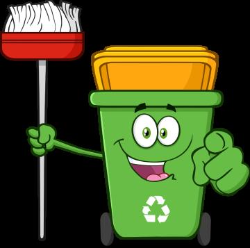 Autocollant Poubelle Respect Environnement Et Recyclage Balai