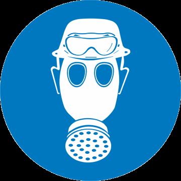 Autocollant Obligation Protéger Tête Et Voies Respiratoires Lunette Contre Acide