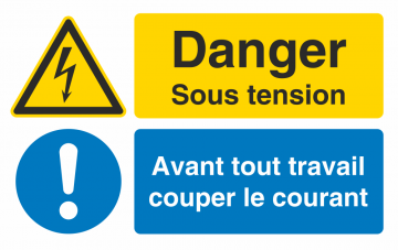 Autocollant Obligation Danger Sous Tension Couper Courant