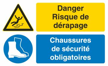 Autocollant Obligation Danger Dérapage Port Chaussure Securité