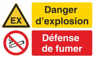 Autocollant Danger D'explosion / Défense De Fumer