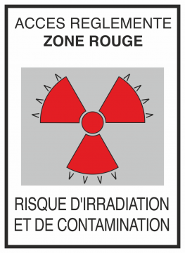 Autocollant Risque D'irradiation Et De Contamination Rouge