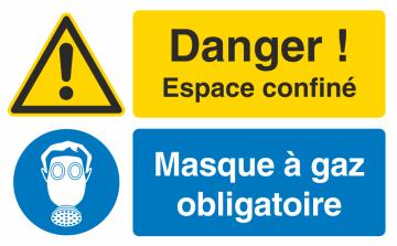 Autocollant Espace Confiné / Masque à Gaz Obligatoire