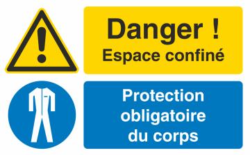 Autocollant Espace Confiné / Protection Obligatoire Du Corps