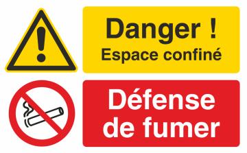 Autocollant Espace Confiné / Défense De Fumer