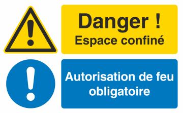Autocollant Espace Confiné / Autorisation De Feu Obligatoire