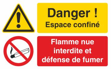 Autocollant Espace Confiné / Flamme Nue Interdite Et Défense De Fumer