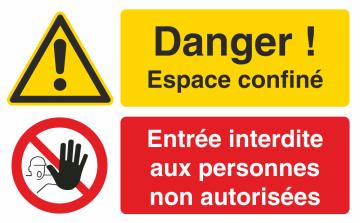 Autocollant Espace Confiné / Entrée Interdite Aux Personnes Non Autorisées