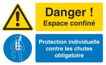 Autocollant Espace Confiné / Protection Individuelle Contre Les Chutes Obligatoire