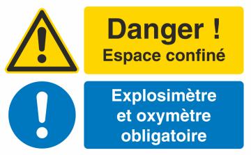 Autocollant Espace Confiné / Explosimètre Et Oxymètre Obligatoire