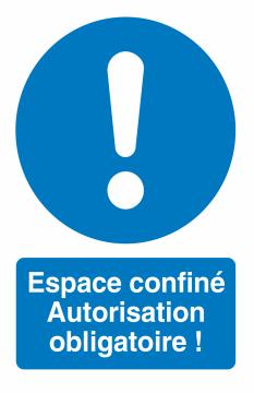 Autocollant Espace Confiné / Autorisation Obligatoire !