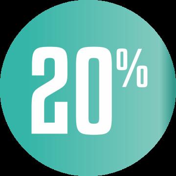 Autocollant Soldes 20% Cercle Bleu