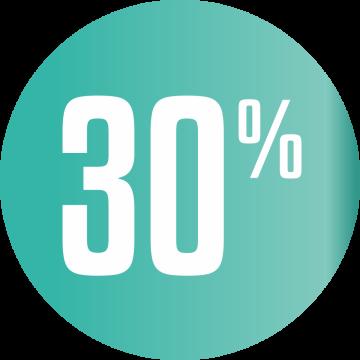 Autocollant Soldes 30% Cercle Bleu