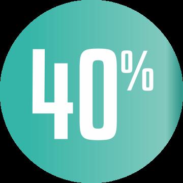 Autocollant Soldes 40% Cercle Bleu