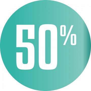 Autocollant Soldes 50% Cercle Bleu