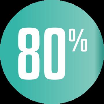 Autocollant Soldes 80% Cercle Bleu