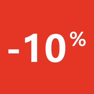 Autocollant Soldes 10% Carré Rouge