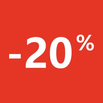 Autocollant Soldes 20% Carré Rouge