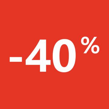 Autocollant Soldes 40% Carré Rouge