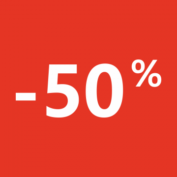 Autocollant Soldes 50% Carré Rouge
