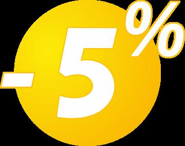 Autocollant Soldes 5% Bulles Jaunes