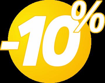 Autocollant Soldes 10% Bulles Jaunes