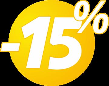 Autocollant Soldes 15% Bulles Jaunes