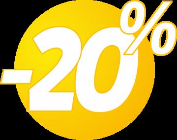Autocollant Soldes 20% Bulles Jaunes