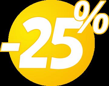 Autocollant Soldes 25% Bulles Jaunes