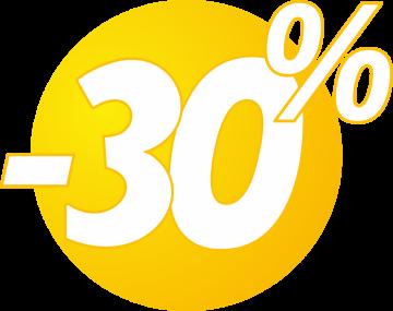 Autocollant Soldes 30% Bulles Jaunes