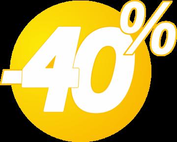 Autocollant Soldes 40% Bulles Jaunes