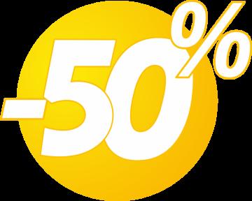 Autocollant Soldes 50% Bulles Jaunes