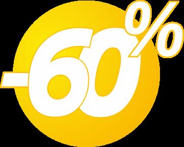 Autocollant Soldes 60% Bulles Jaunes