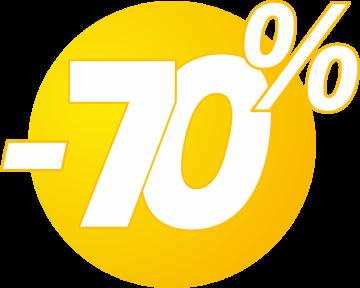 Autocollant Soldes 70% Bulles Jaunes