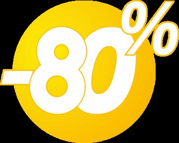 Autocollant Soldes 80% Bulles Jaunes