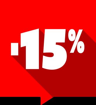 Autocollant Soldes -15% Carré Rouge