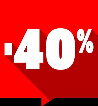 Autocollant Soldes -40% Carré Rouge 1