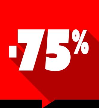 Autocollant Soldes -75% Carré Rouge